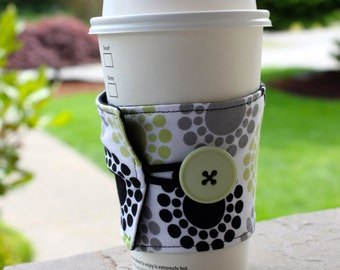 Coffee Cup Cozy - Reusable Coffee Sleeve - Lime Green, Black, and Grey Sunburst - Green and Black Coffee Cozy - Fun Teacher Gift
