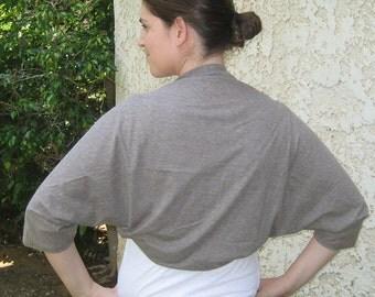 Light brown bolero, shrug bolero, taupe bolero loose fit, shrugs and boleros for women