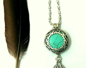 Warrior Silver Dangle Feathers silver & Turquoise pendant necklace Boho bride Native American inspired statement piece