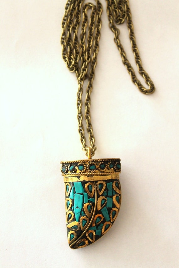 Tibetan large Tusk Horn mosaic pendant necklace in Vintage bronze & Turquoise Bohemian statement piece Free people inspired