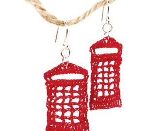 I Love England - Red Phone Box Crochet Fish Hook Earring - Nickel Free