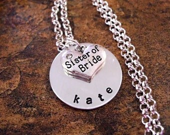 AWESOME SALE NOW Sister of the Bride Jewelry, Sister of the Bride Necklace, Personalized Jewelry, Hand Stamped Jewelry