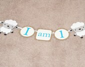 Lambs, sheeps, I am 1, sweet boy birthday, first birthday, high chair banner
