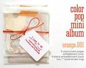 Mini Paper Kit Orange Color Pop DIY KIT Mini Album Book Notebook Daybook . Mixed Media Smash Art List Journal Travel Trip Scrapbook Album