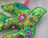Bright Green felt bird with delux embellishment.