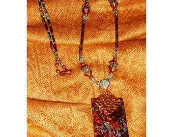 Van Gogh violet, bluegreen and copper stained glass necklace brockus creations 4998