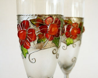 Wedding Glasses, Hand Painted Wedding Glasses, Toasting Glasses, Champagne Flutes, set of 2, Coral, Vintage look