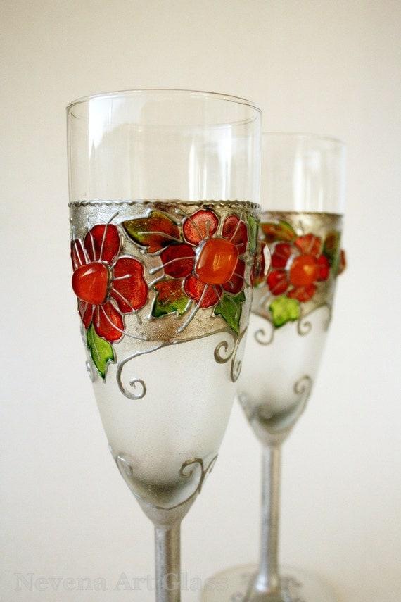 Wedding Glasses Hand Painted Wedding Glasses Toasting