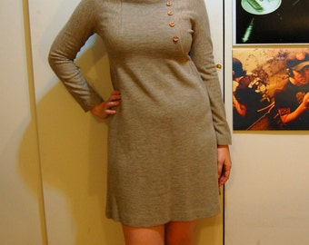 S/M Vintage 70s Beige Dress With Buttons