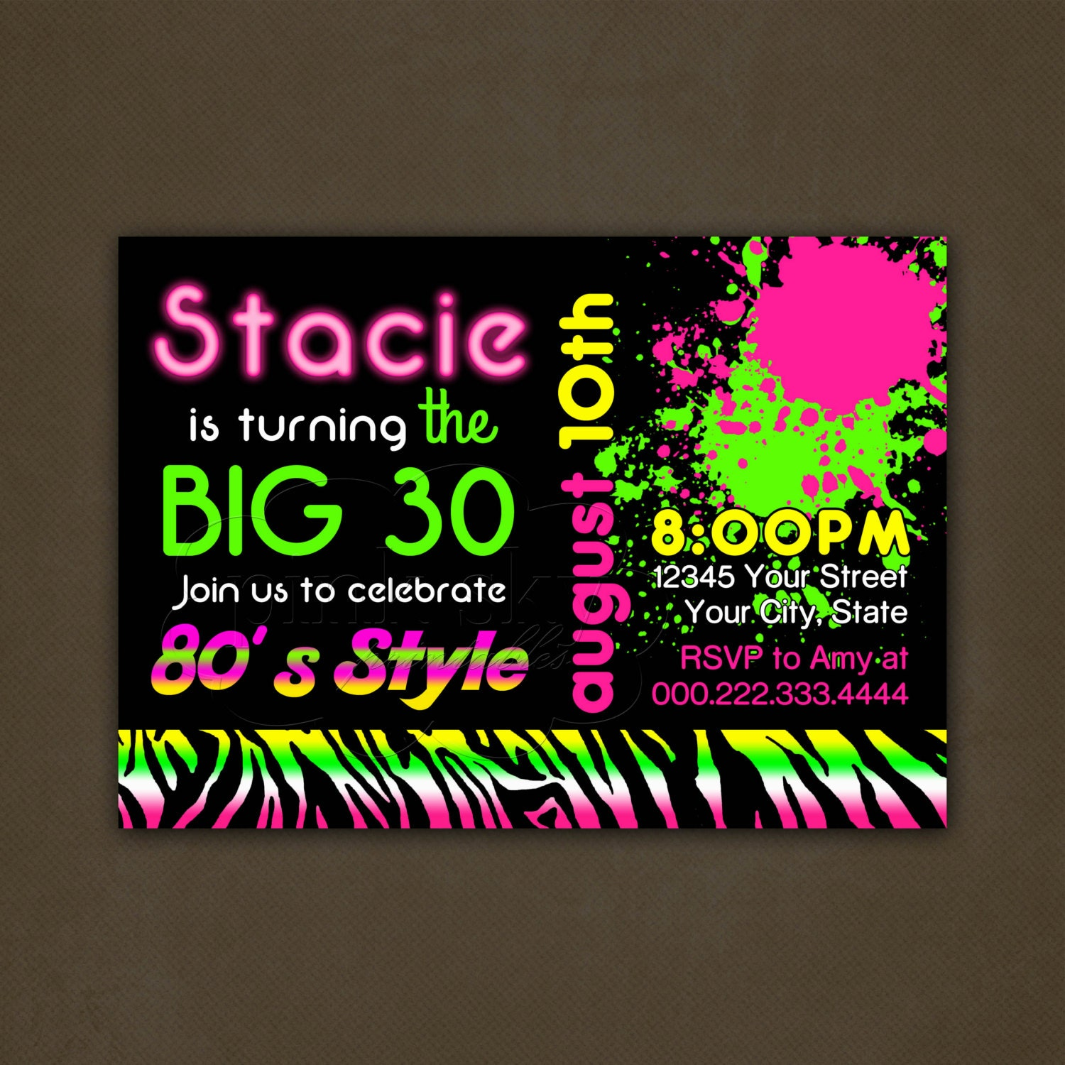 80\'s Adult Birthday Party Invitations Printable File Neon