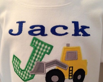 Applique Bulldozer or Dump-truck with Child's Name and Letter or Number