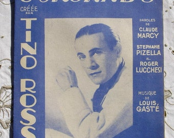 1940's French Song / Sheet Music - Tender Serenade (Sung by Tino Rossi)