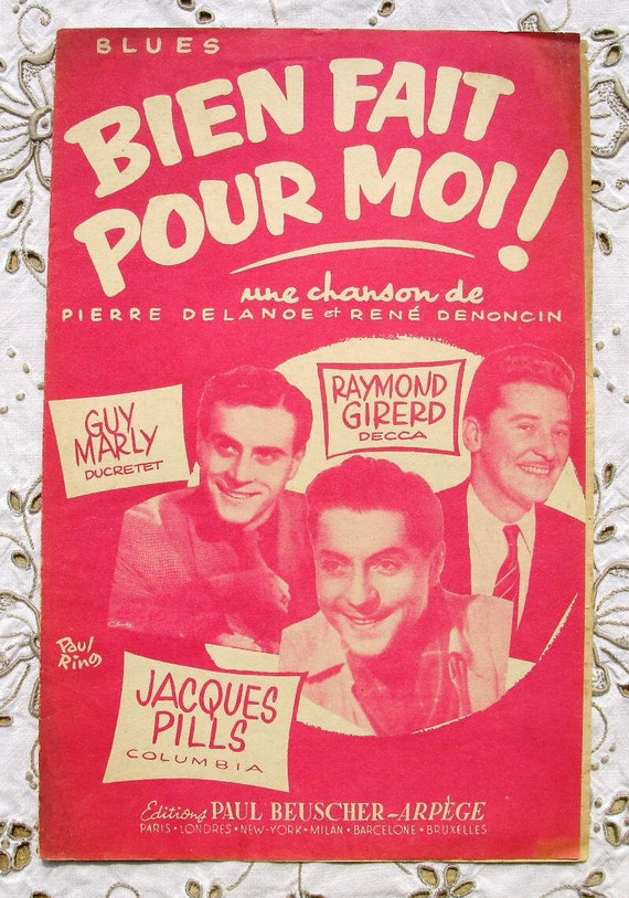 Vintage French 1950's Blues Song / Sheet Music - Well Done For Me (Bien Fait Pour Moi)
