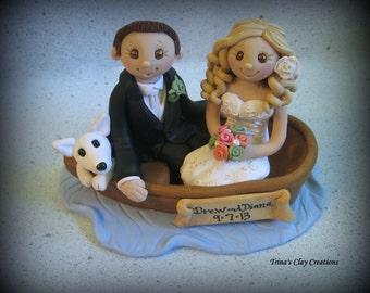 Wedding Cake Topper, Custom Cake Topper, Bride, Groom and Pet, Boat, Polymer Clay, Wedding/Anniversary Keepsake