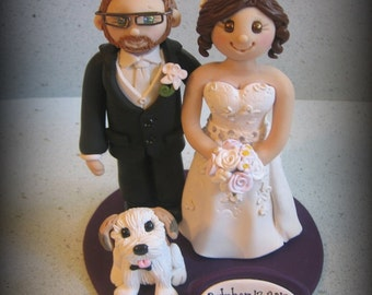 Wedding Cake Topper, Custom Bride and Groom, Dog, Shih Tzu, Date Plaque, Polymer Clay Wedding/Anniversary Keepsake