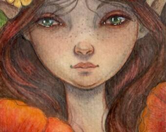 Poppy Fairy...Original 4x6 Mixed Media Painting