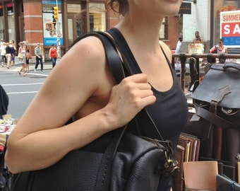 Leather hobo bag, Black hobo purse, Leather shoulder bags, Black leather zip purse, Ladies shoulder bags, Handmade bags &  purses made in NY