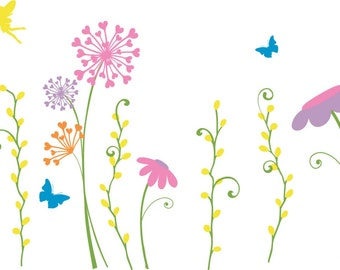 FAIRY GARDEN Wall Decal / fairy wall decal, faerie wall decal, fairy garden decor, flower wall decals, wall decal floral, wall mural