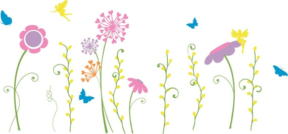 Fairy garden wall decal fairy wall decal faerie wall decal for Fairy garden mural