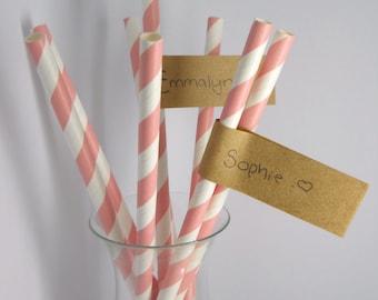 STRAW TAGS - QTY 25 - Straw Flag - Self Stick - Kraft Tag - Place Card - Wedding straw flags - kraft wedding - Rustic