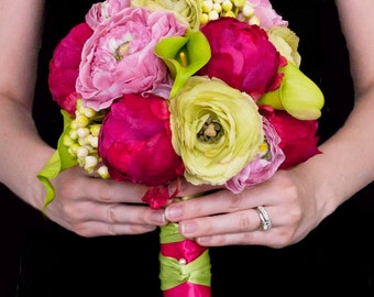 Fuchsia and Lime Peony Ranunculus and Calla Lily Wedding Bouquet