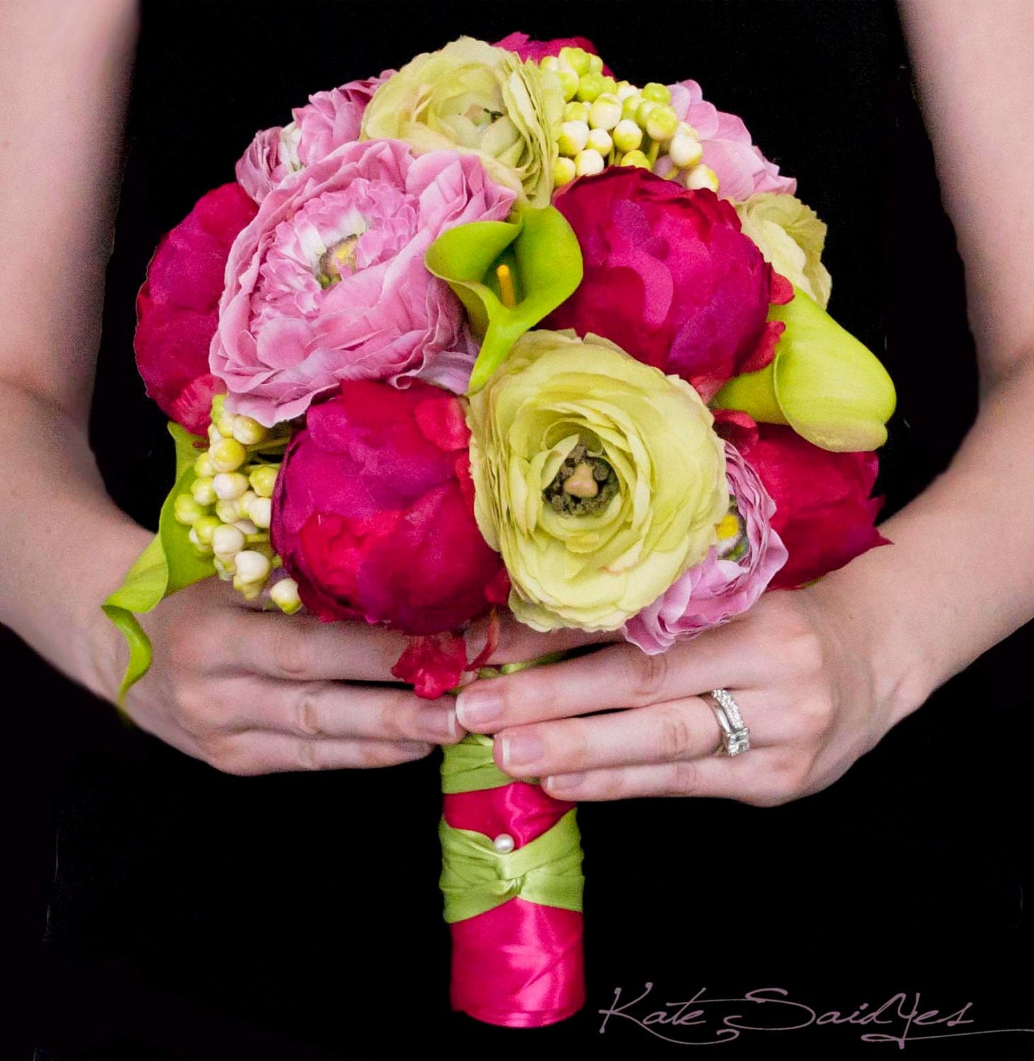 fuchsia and lime peony ranunculus and calla lily wedding. Black Bedroom Furniture Sets. Home Design Ideas