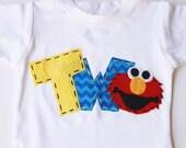 elmo birthday shirt, two, 2nd, girl boy t shirt,