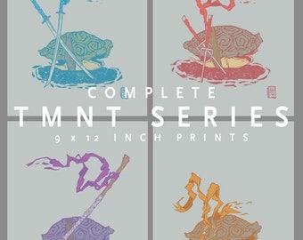 Full TMNT series 9 x 12 in Art Prints by Jaime Hernandez | Leo Mike Raph Donatello