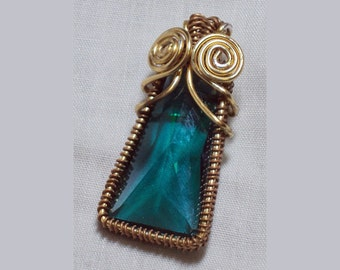 teal glass gold wire-wrapped pendant - art deco pendant