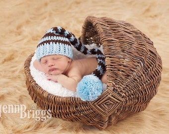 Newborn Baby Boy Stocking Hat, Great for Professional Photo Props, Birth Annauncement Cards, Baby Blue and Brown with PomPom. Baby Gift.