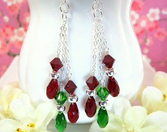 Christmas lights red and green Swarovski crystal earrings, Christmas lights red and green Swarovski crystal earrings