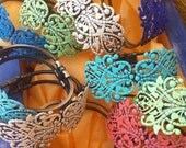 Gorgeous Metal CUFF Filigree Hand Painted Bracelet - CHOOSE your own COLOR