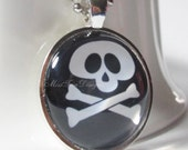 Black Goth Jewelry, Skull and Crossbones Necklace with 24 inch chain, Glass Art Pendant