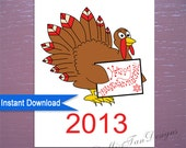 Happy Thanksgivukkah Card, Thanksgiving + Hanukkah Card, Instant Download, Printable Art, Thanksgivukkah, Digital Item ONLY