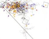 """Language 15, small, abstract, original, 8"""" x 11"""" drawing"""