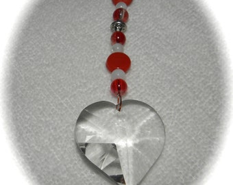 Love HEART Crystal Sun Catcher Ornament 30mm Red - Orange and White Beads Rainbows Feng Shui