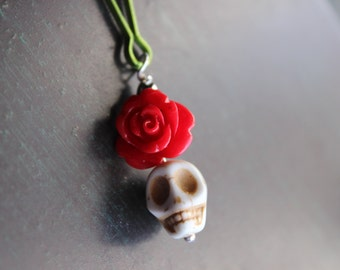 Sugar Skull and Red Rose Zipper Pull Charm