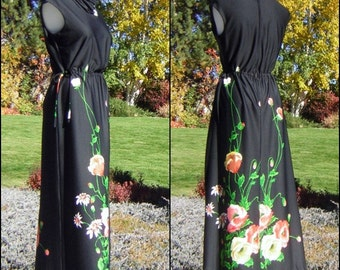 Maxi Party Dress Adjustable Side Ties Black Poppy Print Vintage 70s - Stretchy Comfy Medium