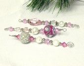 Hot Pink Beaded Icicle Ornaments - pink Christmas decor - CJKingOriginals