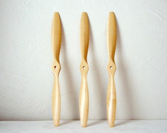 vintage model airplane propeller - radio remote control toy plane parts - hobby aviation - set of three - 12 inch wood - steampunk parts