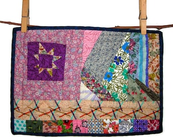 """Purple Freehand Star Mini Quilt, Hand Pieced & Quilted from 20th c. Vintage Fabrics,11 1/2""""(29.2cm) X 8 1/4""""(21cm),Free US Shipping"""