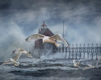 Stormy Weather with Flying Gulls at the Grand Haven Lighthouse on Lake Michigan No.019 A West Michigan Storm Lighthouse Seascape Photograph