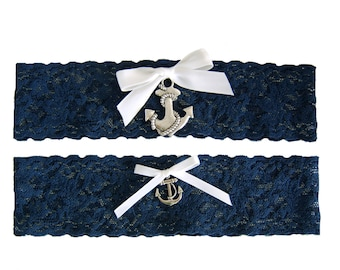 Navy Blue and White Stretch Lace Wedding Garter Set  with Sailor Anchor Nautical Marine Boating and Sea Themed Wedding