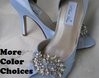 Wedding Shoes Blue Bridal Shoes Sparkling Crystal Brooch Heel and Color Options -100 Additional Colors To Pick From