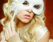 White and Rhinestone Bridal Masquerade Mask