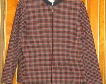 Orange and Gray Plaid Zippered Jacket