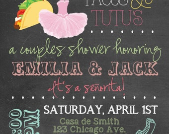 Adorable Taco's & Tutu's Baby Shower Invitation - DIY or Professionally Printed Cards