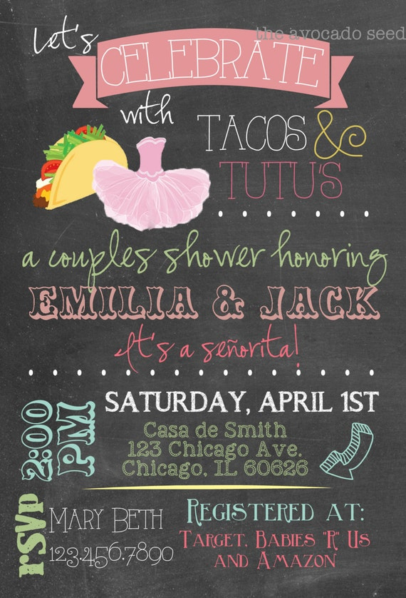 Adorable Taco's & Tutu's Baby Shower Invitation DIY