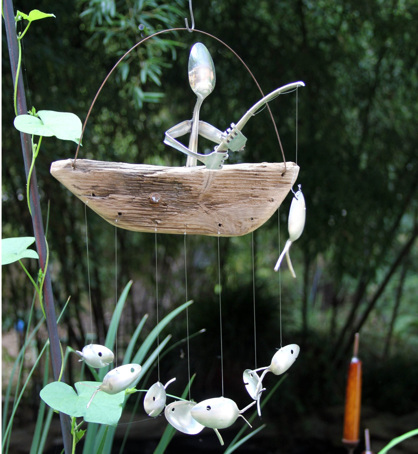 Spoon man driftwood boat and spoon fish wind chimegarden wind for Fish wind chimes