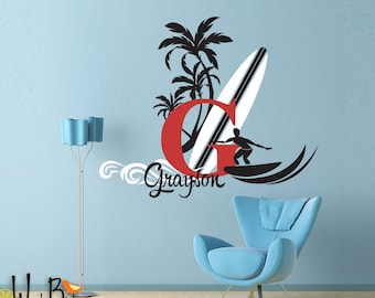 Surfer Dude Name Decal Vintage Style Monogram - Personalized - Teen decor with surfboard palm trees and wave